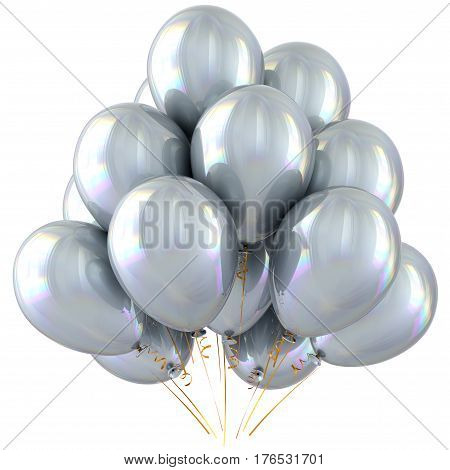 White balloons happy birthday party decoration bright silver glossy. 3D illustration