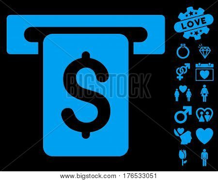 Cash Withdraw pictograph with bonus romantic pictograms. Vector illustration style is flat iconic symbols on white background.
