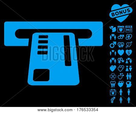Ticket Machine pictograph with bonus lovely clip art. Vector illustration style is flat iconic symbols on white background.