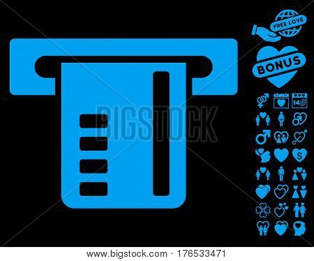 Ticket Terminal pictograph with bonus decorative pictograms. Vector illustration style is flat iconic symbols on white background.