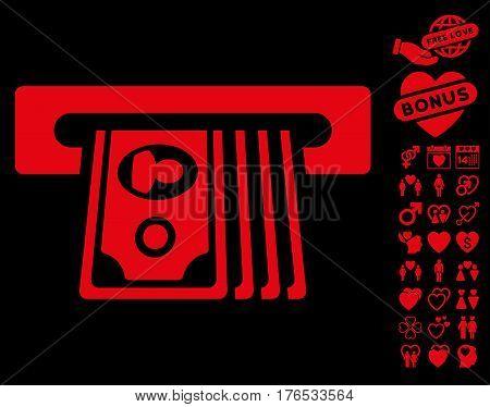 ATM Insert Cash icon with bonus valentine graphic icons. Vector illustration style is flat iconic symbols on white background.