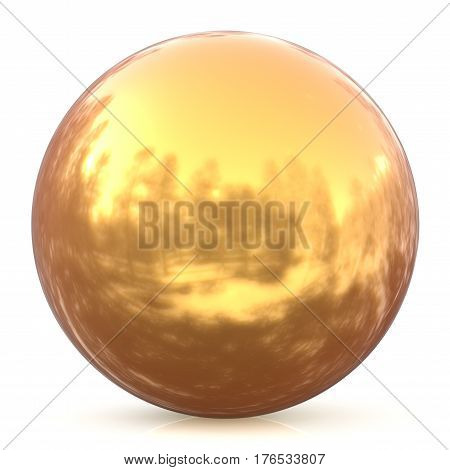 Sphere round button golden ball basic circle geometric shape solid yellow figure  3d render illustration