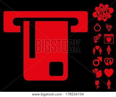 Bank ATM icon with bonus amour symbols. Vector illustration style is flat iconic symbols on white background.