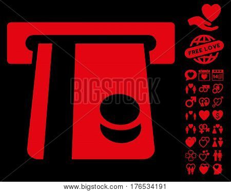 Bank Card Terminal pictograph with bonus lovely pictograph collection. Vector illustration style is flat iconic symbols on white background.