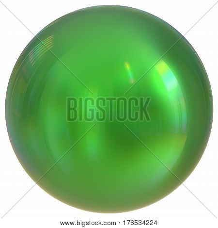 Green sphere round button ball basic circle geometric shape solid figure  3d render illustration