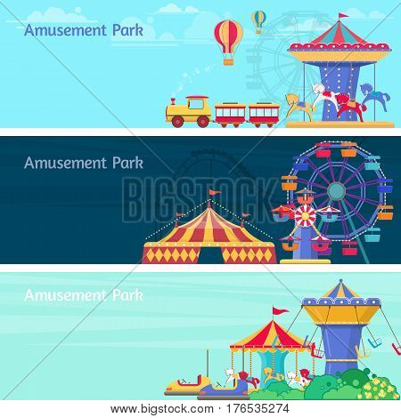 Amusement park horizontal backgrounds vector illustration with different carousels swings and ferris wheel