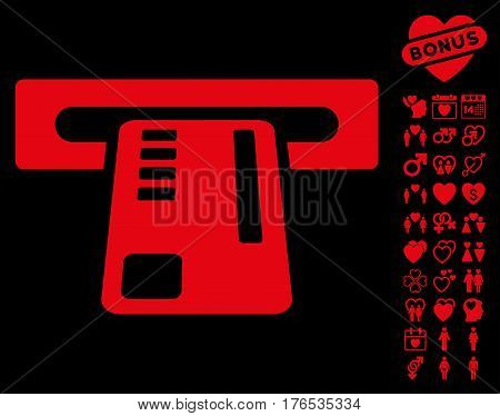 Ticket Machine pictograph with bonus passion pictures. Vector illustration style is flat iconic symbols on white background.