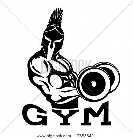 Bodybuilder spartan in the gym on a white background.