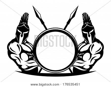 Spartans with shield and spear on a white background.