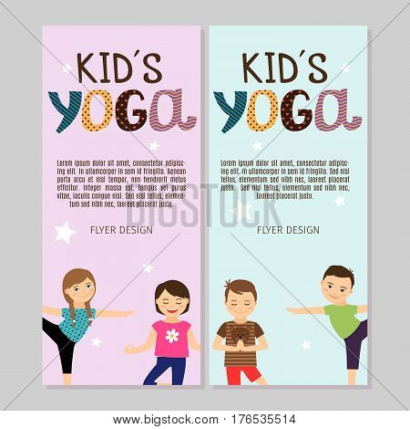 Cute yoga flyers with boys and girls. Vector illustration