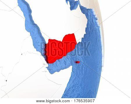Yemen On Shiny Globe With Water