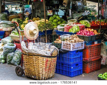 BANGKOK, THAILAND - JANUARY 18, 2014: Vegetables market or Pak Khlong Talat market. Bangkok, Thailand