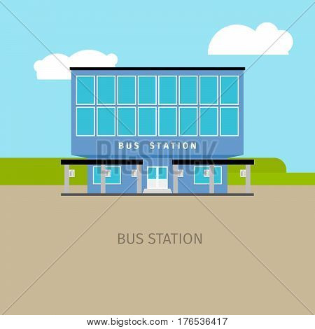 Colored bus station building with sky and clouds, vector illustration