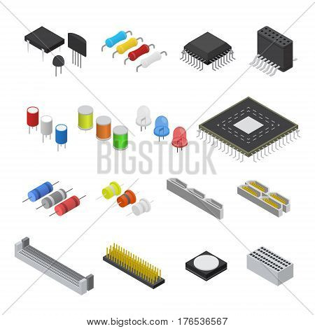 Computer Electronic Circuit Board Component Set Isometric View for Web. Vector illustration