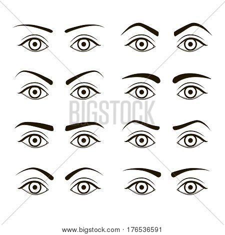 Different Type Woman Black Eyebrows Set. Make Up Design Element. Vector illustration