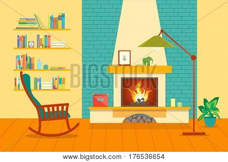 Cartoon Fireplace Interior for House Flat Style Design Domestic Comfort. Vector illustration