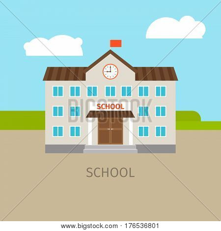 Colored school building with sky and clouds, vector illustration