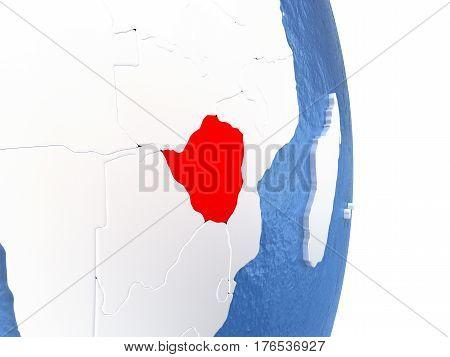 Zimbabwe On Shiny Globe With Water