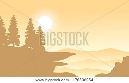 Silhouette of spruce on mountan background landscape vector