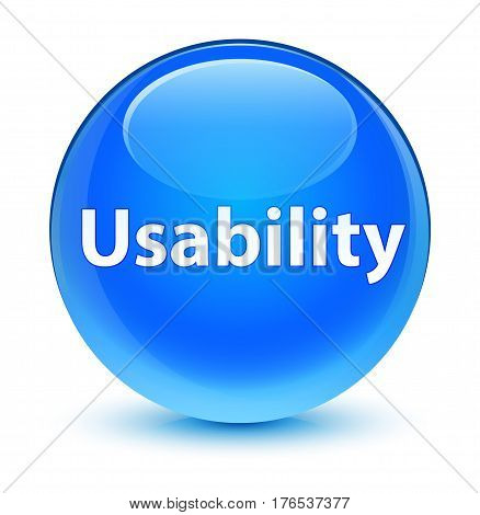 Usability Glassy Cyan Blue Round Button