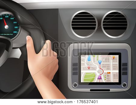 Realistic vector illustration of driver hands holding steering wheel with gps navigator in  cockpit car panel