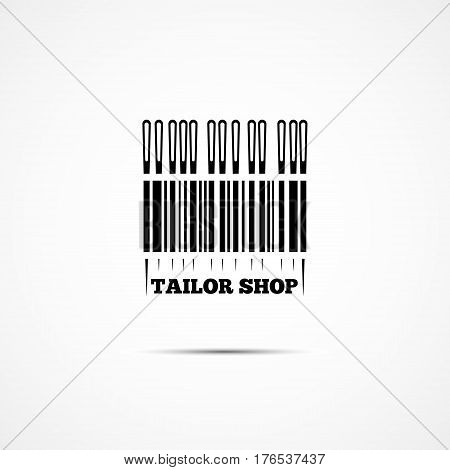 Logo with a needle and a bar code for sewing business. Vector illustration.