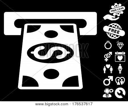 Cash Withdraw pictograph with bonus dating clip art. Vector illustration style is flat iconic symbols on white background.