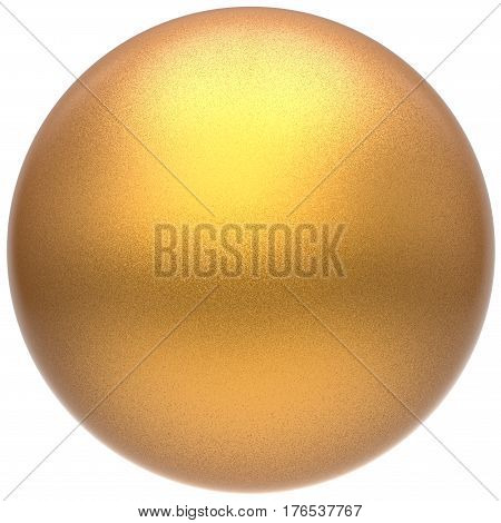 Golden sphere round button ball basic matted yellow circle geometric shape 3D illustration isolated