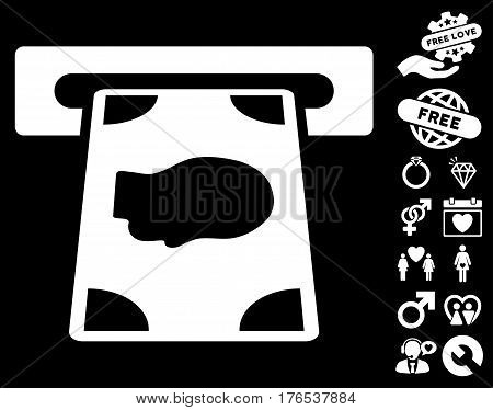 Cashpoint icon with bonus love pictograph collection. Vector illustration style is flat iconic symbols on white background.