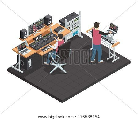 Music production studio room isometric interior with sound engineer and arrangement producer workplace equipped with gear vector illustration
