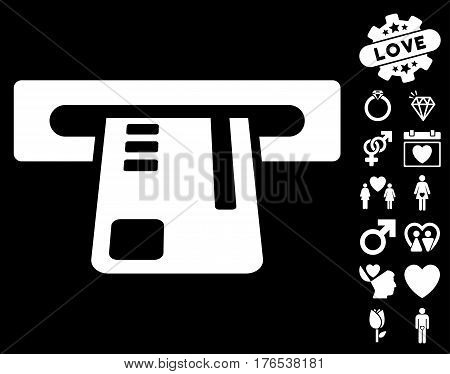 Ticket Terminal pictograph with bonus lovely pictures. Vector illustration style is flat iconic symbols on white background.