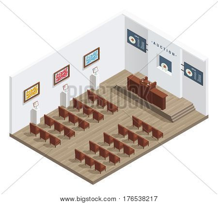Auction room isometric interior with auctioneers tribune bidders chairs pictures on the wall and information boards vector illustration
