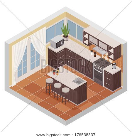 Kitchen interior isometric composition with bar stand oven microwave and shelves for kitchenware flat vector illustration