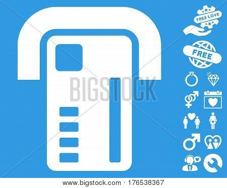 ATM Machine icon with bonus amour clip art. Vector illustration style is flat iconic symbols on white background.