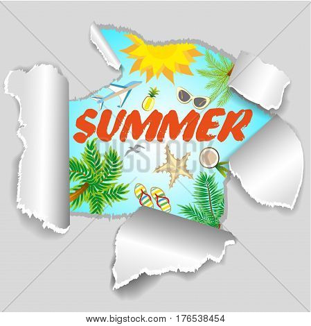 Summer Vacation Design for Travel in a Sand Beach Island in Horizon with Summer Items.