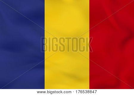 Romania Waving Flag. Romania National Flag Background Texture.