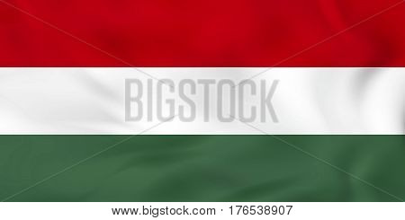Hungary Waving Flag. Hungary National Flag Background Texture.