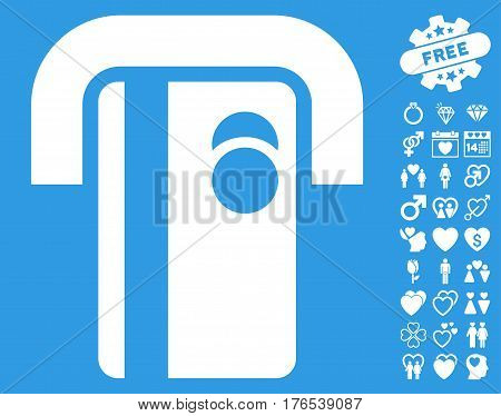 Bank Terminal icon with bonus amour graphic icons. Vector illustration style is flat iconic symbols on white background.