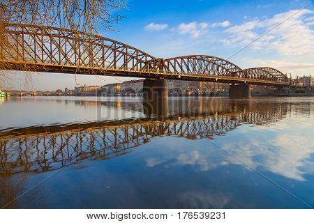 Old iron railway bridge in PragueCzech Republic. The original bridge over the Vltava river built between 1871 - 1872