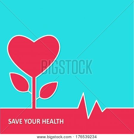 Heart and heartbeat symbol. Vector illustration of life line forming heart shape.
