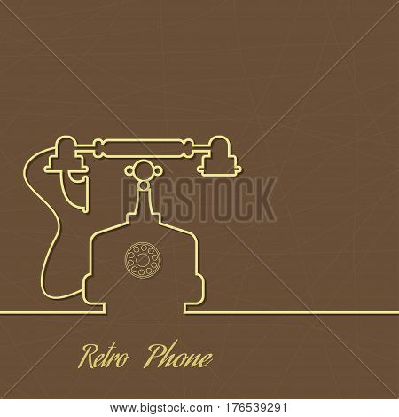 Abstract background with an old rotary telephone. Call technical support. Contacts.Vintage telephone poster template vector.