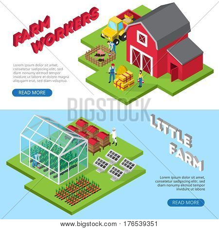 Profitable small agricultural business 2 isometric website banners with farmworkers and farm facilities information isolated vector illustration
