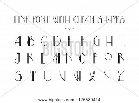 Lined hipster styled font with minimalistic thin shapes