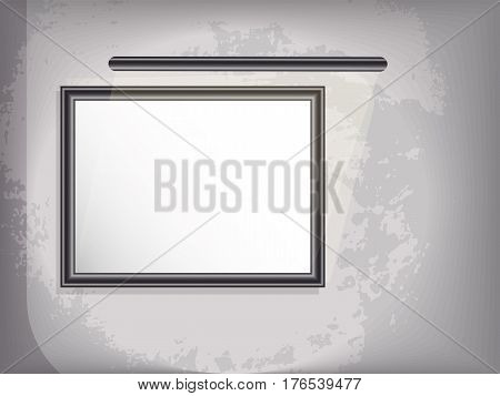 Mock up horizontal picture with backlight. Grunge background. vector