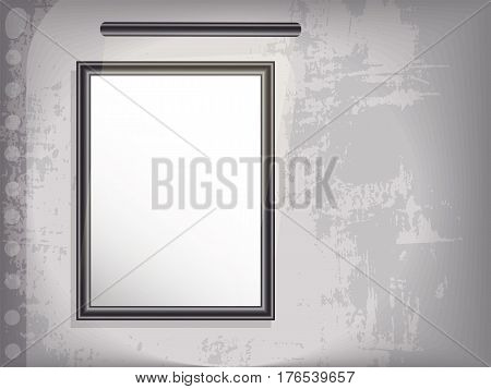 Mock up vertical picture with backlight. Grunge background. vector