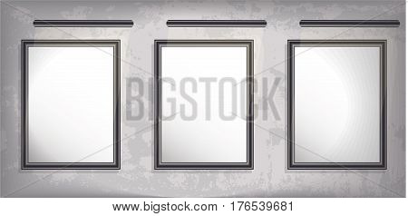 Mock up. three vertical picture with backlight. Grunge background. vector