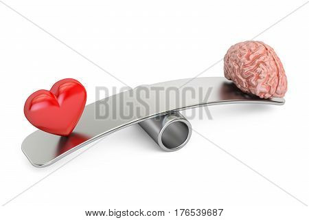 balance concept seesaw with heart and brain 3D rendering