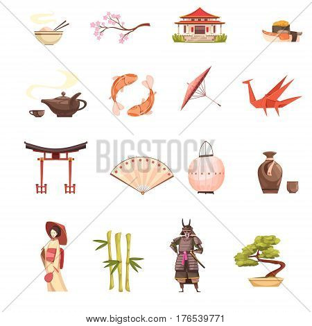 Japan retro cartoon icons set with shrine sakura geisha samurai origami  bonsai and bamboo isolated vector illustration