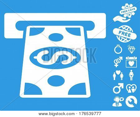 Cash Withdraw icon with bonus amour pictures. Vector illustration style is flat iconic symbols on white background.