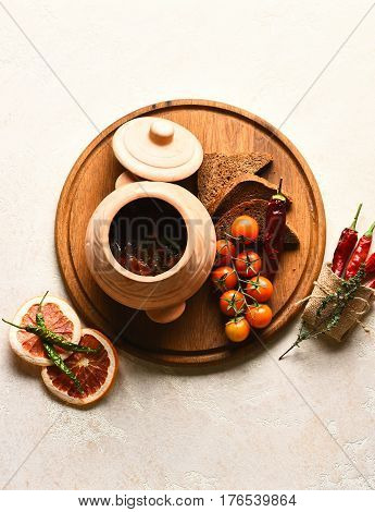 Tasty Goulash Soup With Beef Meat Cooked In Clay Pot